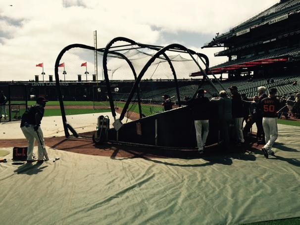 "<div class=""meta image-caption""><div class=""origin-logo origin-image none""><span>none</span></div><span class=""caption-text"">It's opening day at AT&T Park!  No panic in Joe Panik as he warms up his swing! SF Giants celebrate last year's world championship with with fans on Monday, April 13, 2015. (KGO-TV/Mike Shumann)</span></div>"