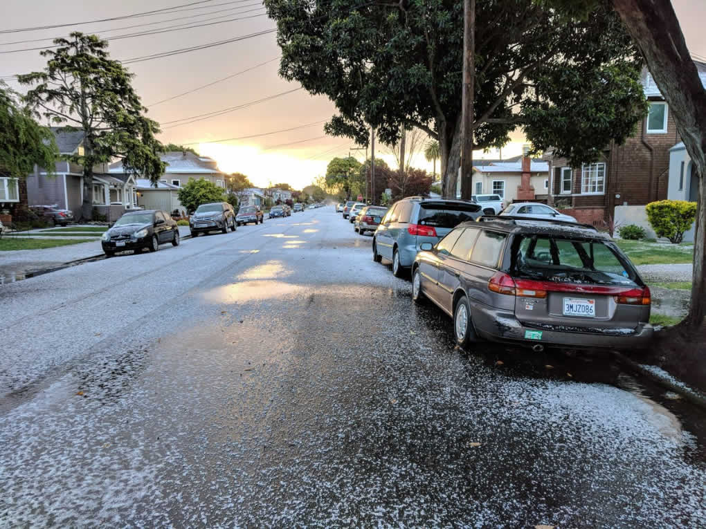 <div class='meta'><div class='origin-logo' data-origin='none'></div><span class='caption-text' data-credit='Photo submitted to KGO-TV by @mateoscully/Twitter'>Hail fell so thickly it looked like snow in Alameda, Calif. on Monday, April 16, 2018.</span></div>