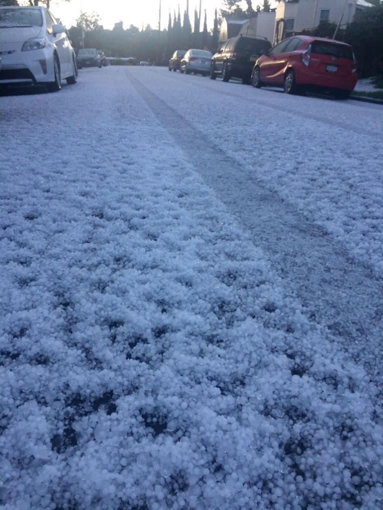 <div class='meta'><div class='origin-logo' data-origin='none'></div><span class='caption-text' data-credit='Photo submitted to KGO-TV by @thatgirlmystic/Twitter'>Hail fell so thickly in the East Bay it looked like snow on Monday, April 16, 2018.</span></div>