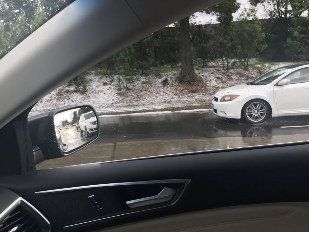 <div class='meta'><div class='origin-logo' data-origin='none'></div><span class='caption-text' data-credit='Photo submitted to KGO-TV by @watkowski/Twitter'>Hail fell so thickly it looked like snow in Oakland, Calif. on Monday, April 16, 2018.</span></div>