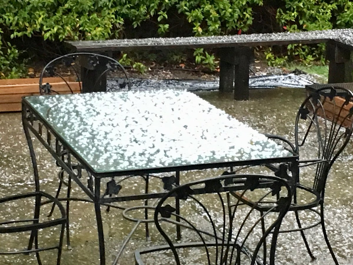 <div class='meta'><div class='origin-logo' data-origin='none'></div><span class='caption-text' data-credit='KGO-TV'>Hail is seen on a table in the North Bay on Monday, April 16, 2018.</span></div>