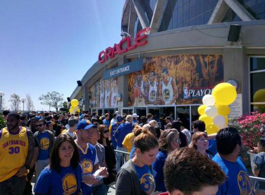 <div class='meta'><div class='origin-logo' data-origin='none'></div><span class='caption-text' data-credit=''>Warriors fans walking outside Oracle Arena on Saturday, April 18, 2015. Photo submitted by @amoteach.</span></div>