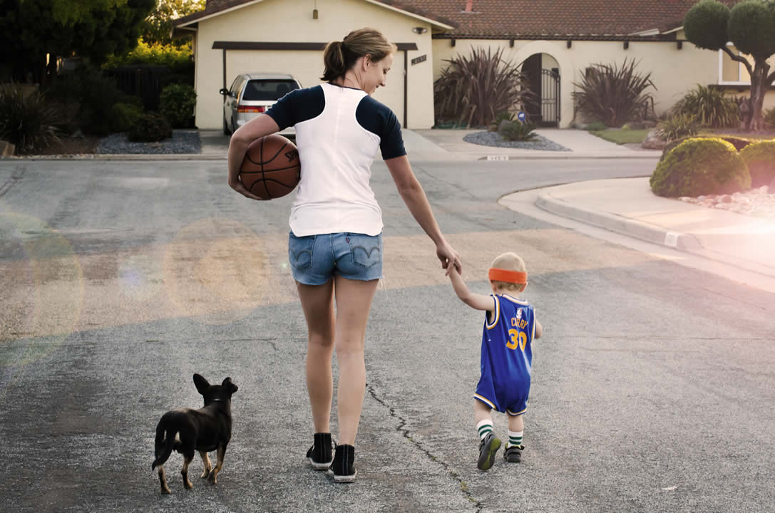 <div class='meta'><div class='origin-logo' data-origin='none'></div><span class='caption-text' data-credit='Photo sent to KGO-TV by Katie B./uReport'>Golden State Warriors fan Katie B. walks with her 19-month-old son Noah and dog Hank.</span></div>