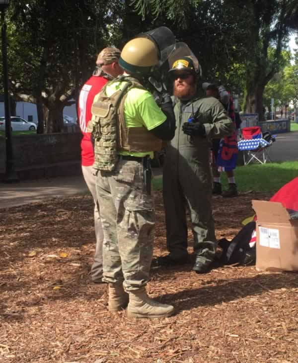 <div class='meta'><div class='origin-logo' data-origin='none'></div><span class='caption-text' data-credit='KGO-TV'>Oathkeepers arrive at a demonstration in Berkeley, Calif. to &#34;protect the innocent&#34; on Thursday, April 27, 2017.</span></div>