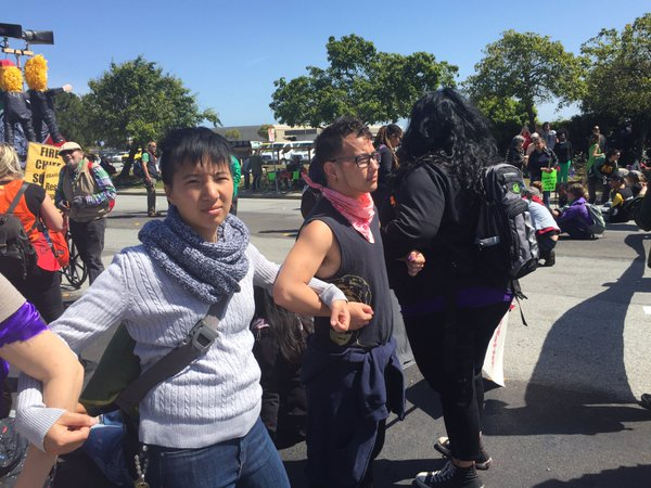 <div class='meta'><div class='origin-logo' data-origin='none'></div><span class='caption-text' data-credit='KGO-TV'>Donald Trump protesters block Old Bayshore Highway in Burlingame, Calif. on Friday, April 29, 2016.</span></div>