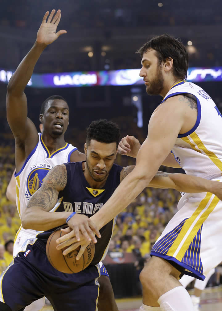 <div class='meta'><div class='origin-logo' data-origin='none'></div><span class='caption-text' data-credit='AP Photo/Marcio Jose Sanchez'>Grizzlies guard Courtney Lee dribbles against Warriors forward Harrison Barnes and Andrew Bogut during a second-round NBA playoff basketball series in Oakland, Calif., May 3, 2015.</span></div>