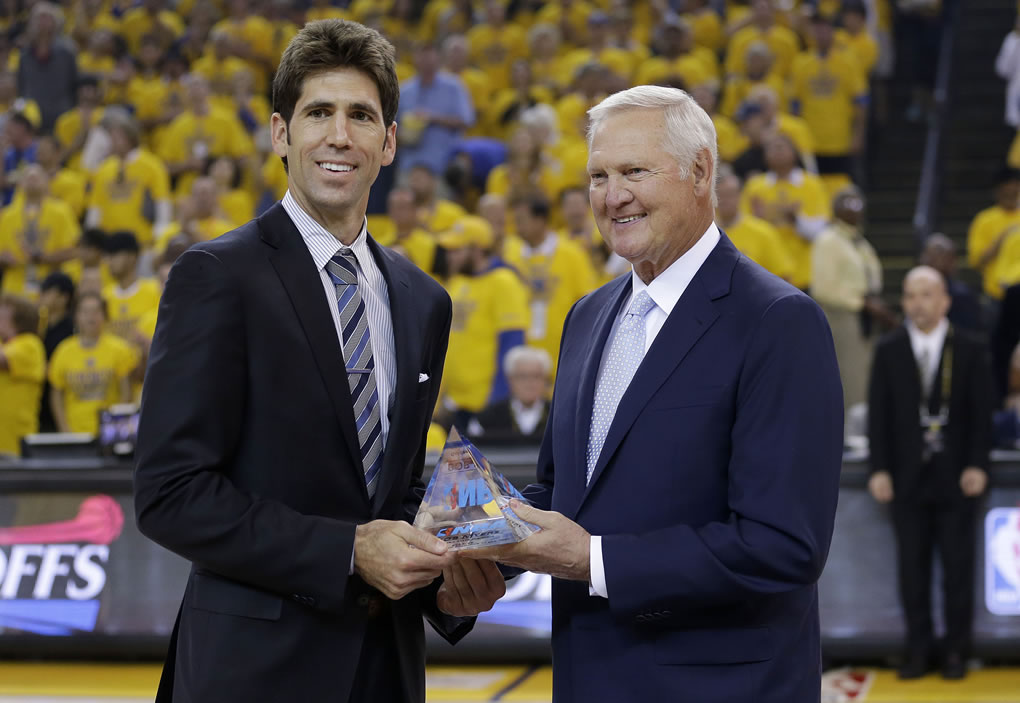 <div class='meta'><div class='origin-logo' data-origin='none'></div><span class='caption-text' data-credit='AP Photo/Marcio Jose Sanchez'>Golden State Warriors general manger Bob Myers is presented the NBA Executive of the Year award by Warriors' executive board member Jerry West in Oakland, Calif., May 3, 2015.</span></div>