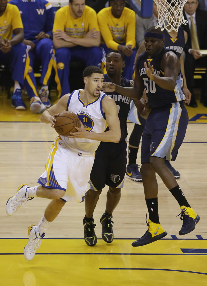 <div class='meta'><div class='origin-logo' data-origin='none'></div><span class='caption-text' data-credit='AP Photo/Jeff Chiu'>Warriors guard Klay Thompson dribbles against Grizzlies forward Tony Allen and forward Zach Randolph during a second-round NBA playoff series in Oakland, Calif., May 3, 2015.</span></div>