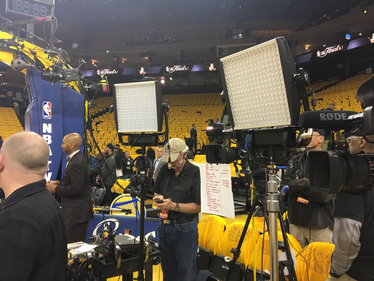 <div class='meta'><div class='origin-logo' data-origin='none'></div><span class='caption-text' data-credit='KGO-TV'>The &#34;After the Game&#34; crew sets up after game 2 of the NBA Finals in Oakland, Calif. on Sunday, June 4, 2017.</span></div>