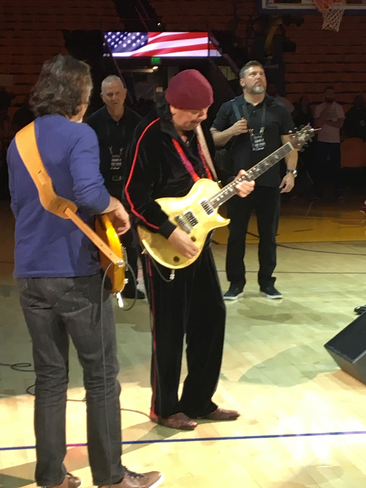 <div class='meta'><div class='origin-logo' data-origin='none'></div><span class='caption-text' data-credit='KGO-TV'>Carlos Santana practices the &#34;National Anthem&#34; before game 2 of the NBA Finals in Oakland, Calif. on Sunday, June 6, 2017.</span></div>