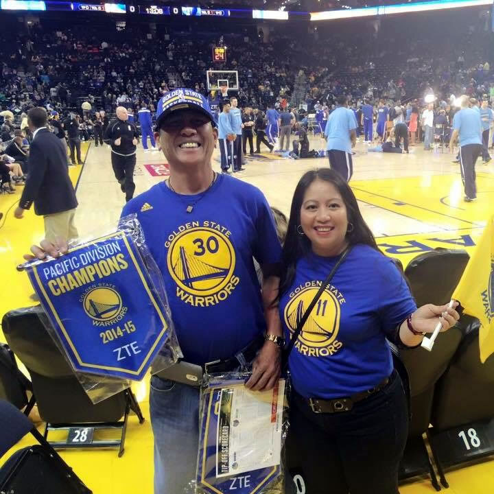 <div class='meta'><div class='origin-logo' data-origin='none'></div><span class='caption-text' data-credit='Photo submitted by Acela via uReport'>Acela and Bong are die-hard Warriors fans! Tag your photos on Facebook, Twitter, Google Plus, or Instagram using #DubsOn7!</span></div>