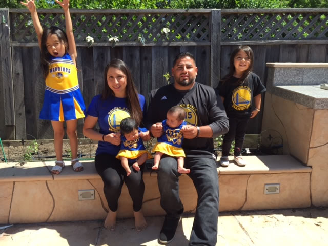 <div class='meta'><div class='origin-logo' data-origin='none'></div><span class='caption-text' data-credit='Photo submitted by Suzie M. via uReport'>The Martinez Family show off their Golden State Warrior pride! Tag your photos on Facebook, Twitter, Google Plus, or Instagram using #DubsOn7!</span></div>