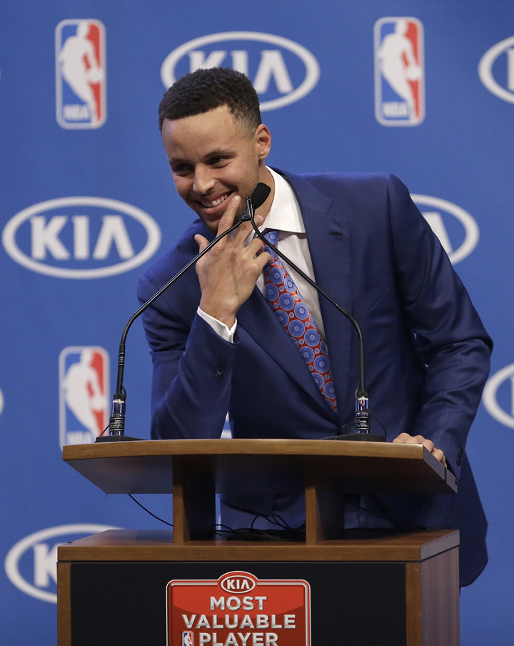 <div class='meta'><div class='origin-logo' data-origin='none'></div><span class='caption-text' data-credit='AP Photo/Ben Margot'>Golden State Warriors guard Stephen Curry smiles after the NBA's Most Valuable Player award presentation on May 10, 2016, in Oakland, Calif.</span></div>