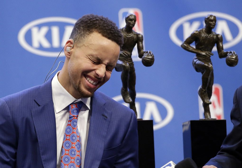 <div class='meta'><div class='origin-logo' data-origin='none'></div><span class='caption-text' data-credit='AP Photo/Marcio Jose Sanchez'>Golden State Warriors guard Stephen Curry smiles as he conducts interviews after receiving the NBA's Most Valuable Player award presentation on May 10, 2016, in Oakland, Calif.</span></div>
