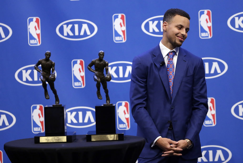 <div class='meta'><div class='origin-logo' data-origin='none'></div><span class='caption-text' data-credit='AP Photo/Ben Margot'>Golden State Warriors guard Stephen Curry smiles after being presented with the NBA's Most Valuable Player award presentation on May 10, 2016, in Oakland, Calif.</span></div>