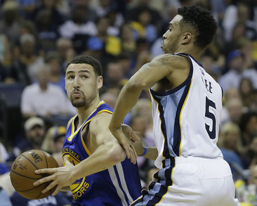 <div class='meta'><div class='origin-logo' data-origin='none'></div><span class='caption-text' data-credit='AP Photo/Mark Humphrey'>Golden State Warriors guard Klay Thompson (11) moves by Memphis Grizzlies guard Courtney Lee (5) in the first half of Game 4 of the NBA basketball Western Conference playoffs.</span></div>