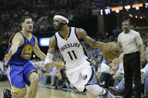 <div class='meta'><div class='origin-logo' data-origin='none'></div><span class='caption-text' data-credit='AP Photo/Mark Humphrey'>Memphis Grizzlies guard Mike Conley (11) moves past Golden State Warriors guard Klay Thompson (11) in the second half of Game 4 of NBA basketball Western Conference playoff game.</span></div>