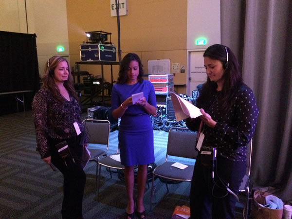 ABC7 News anchor Ama Daetz backstage before introducing the mornning's keynote speakers. <span class=meta>KGO</span>