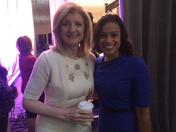 ABC7 News anchor Ama Daetz backstage with PBWC keynote speaker Arianna Huffington. <span class=meta>KGO</span>