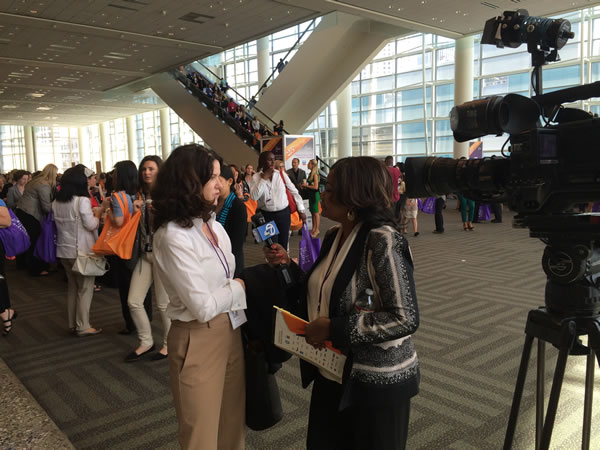 ABC7 News reporter Carloyn Tyler interviews a PBWC conference attendee. <span class=meta>KGO</span>