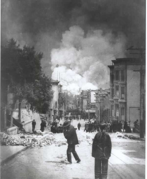 The 1906 quake and resulting fires destroyed Chinatown, and some City leaders wanted to use this opportunity to relocate Chinatown out of the downtown area. <span class=meta>(CHSA)</span>