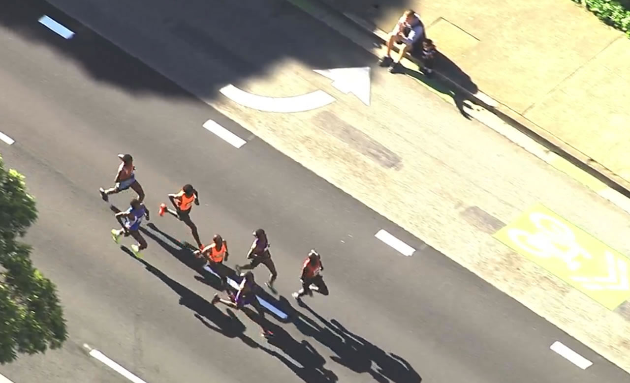 <div class='meta'><div class='origin-logo' data-origin='none'></div><span class='caption-text' data-credit='KGO-TV'>These runners lead the pack in the Bay to Breakers race in San Francisco on Sunday, May 15, 2106.</span></div>
