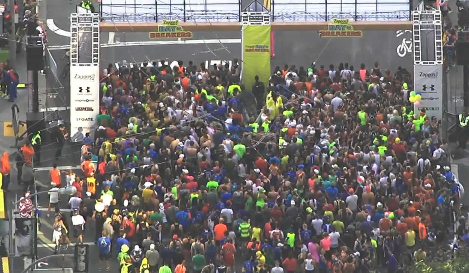 <div class='meta'><div class='origin-logo' data-origin='none'></div><span class='caption-text' data-credit='KGO-TV'>Runners line up for the start of the Bay to Breakers race in San Francisco on Sunday, May 15, 2106.</span></div>