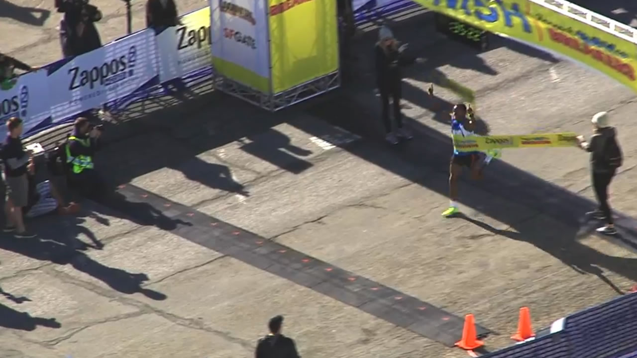<div class='meta'><div class='origin-logo' data-origin='none'></div><span class='caption-text' data-credit='KGO-TV'>Kenya's Isaac Mukundi Mwangi, 28, is the first racer to cross the finish line in San Francisco's 105th annual Bay to Breakers race on Sunday, May 15, 2106.</span></div>