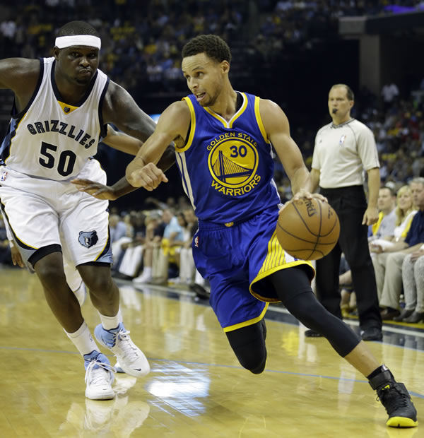 <div class='meta'><div class='origin-logo' data-origin='none'></div><span class='caption-text' data-credit='AP Photo/Mark Humphrey'>Warriors Stephen Curry dribbles past Grizzlies forward Zach Randolph in Game 6 of the Western Conference Semifinals on Friday, May 15 ,2015 in Memphis, Tenn.</span></div>