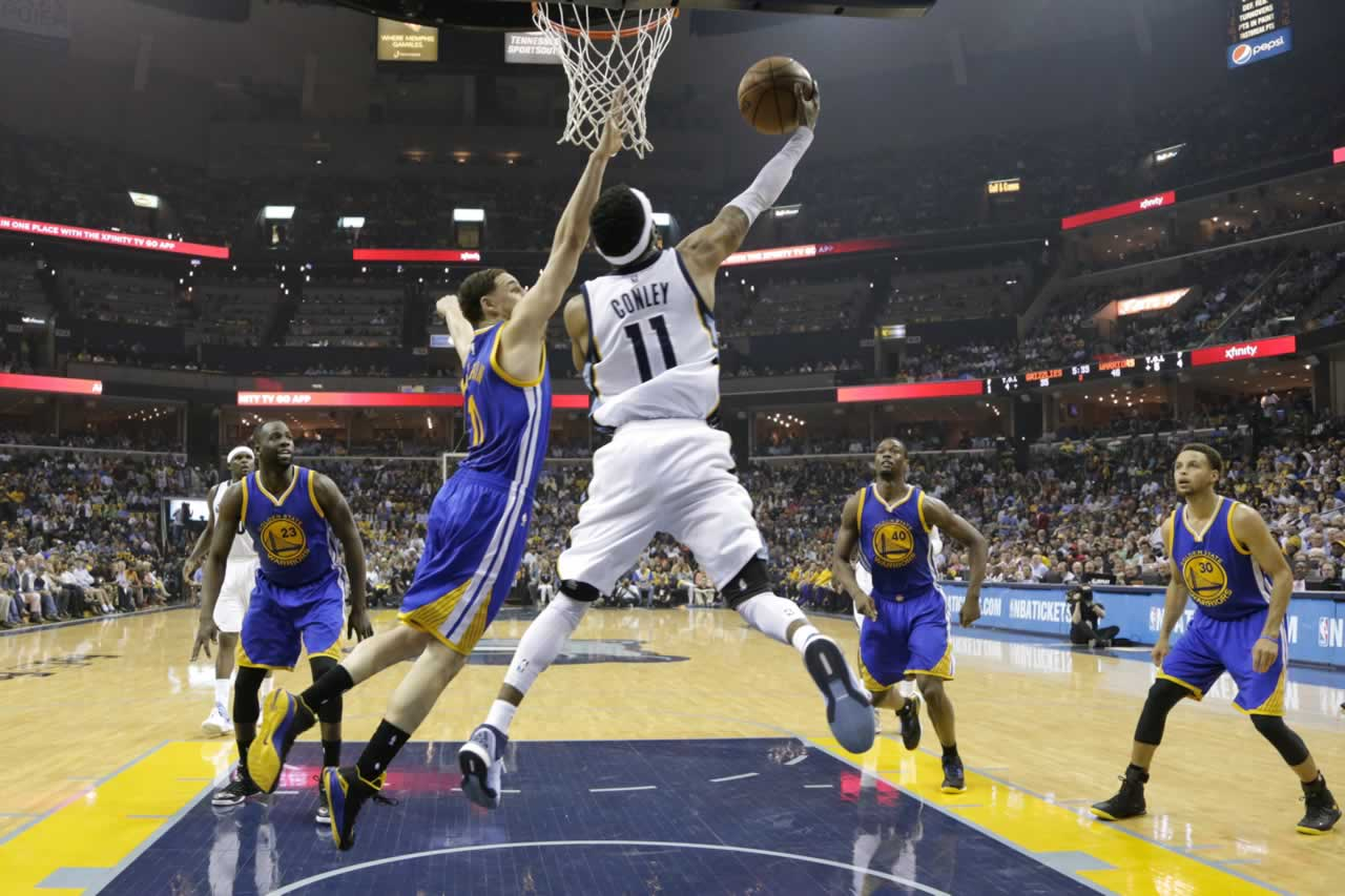 <div class='meta'><div class='origin-logo' data-origin='none'></div><span class='caption-text' data-credit='AP Photo/Mark Humphrey'>Grizzlies guard Mike Conley shoots against Warriors Guard Klay Thompson in Game 6 of the Western Conference Semifinals on Friday, May 15, 2015 in Memphis, Tenn.</span></div>