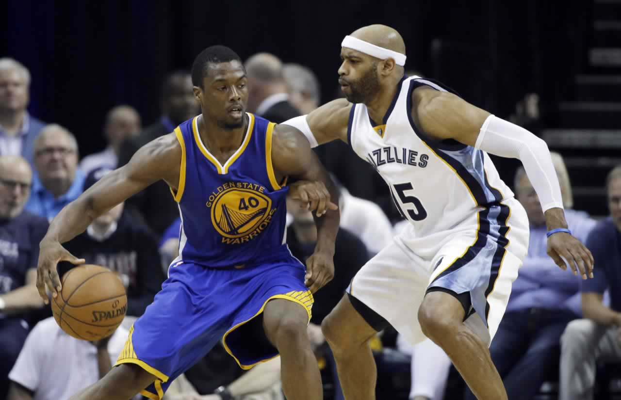 <div class='meta'><div class='origin-logo' data-origin='none'></div><span class='caption-text' data-credit='AP Photo/Mark Humphrey'>Memphis guard Vince Carter defends Warriors forward Harrison Barnes in Game 6 of the Western Conference Semifinals on Friday, May 15, 2015 in Memphis, Tenn.</span></div>