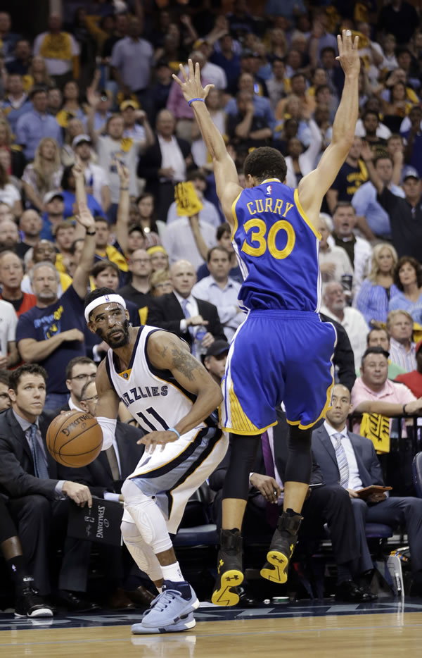 <div class='meta'><div class='origin-logo' data-origin='none'></div><span class='caption-text' data-credit='AP Photo/Mark Humphrey'>Warriors guard Stephen Curry attempts to stop Grizzlies guard Mike Conley during Game 6 of the Western Conference Semifinals on Friday, May 15, 2015 in Memphis, Tenn.</span></div>