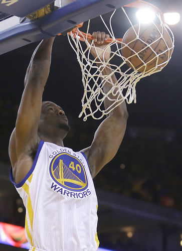 <div class='meta'><div class='origin-logo' data-origin='none'></div><span class='caption-text' data-credit='AP Photo/Tony Avelar'>Golden State Warriors forward Harrison Barnes dunks against the Houston Rockets during the second half of Game 1 of the NBA basketball Western Conference finals in Oakland, Calif.</span></div>
