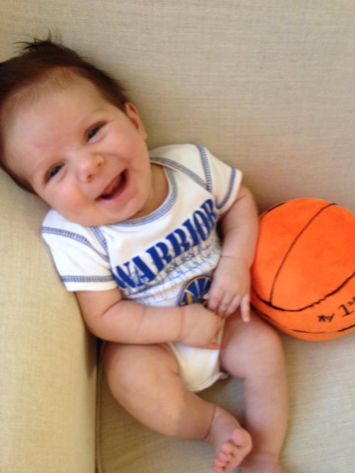 <div class='meta'><div class='origin-logo' data-origin='none'></div><span class='caption-text' data-credit='Photo submitted to KGO-TV by LaDonna L/Facebook'>Baby Lucas Michael loves the Warriors! Tag your photos on Facebook, Twitter, Google Plus or Instagram using #DubsOn7.</span></div>