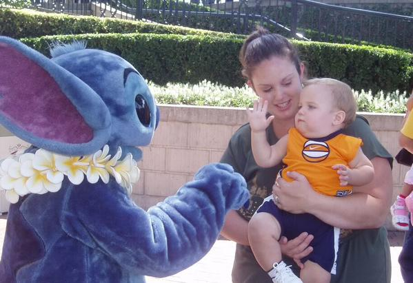 <div class='meta'><div class='origin-logo' data-origin='none'></div><span class='caption-text' data-credit='Photo submitted to KGO-TV by Amy E/Twitter'>This baby is giving Stitch a high five! ABC7 News viewers and staff are celebrating Disneyland's 60 years of magic by sharing photos of themselves at the park.</span></div>