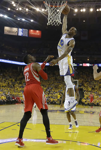 <div class='meta'><div class='origin-logo' data-origin='none'></div><span class='caption-text' data-credit='AP Photo/Tony Avelar'>Golden State Warriors forward Andre Iguodala (9) dunks against Houston Rockets center Dwight Howard (12) during the first half of Game 2 of the Western Conference finals.</span></div>