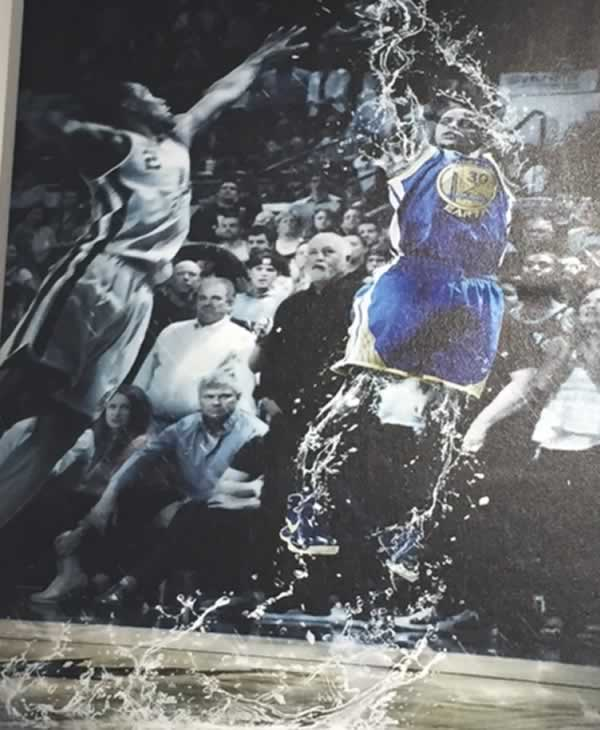 <div class='meta'><div class='origin-logo' data-origin='none'></div><span class='caption-text' data-credit='KGO-TV'>This Warriors-themed art piece is on display at Sole Space in Oakland, Calif. on Monday, May 22, 2017.</span></div>
