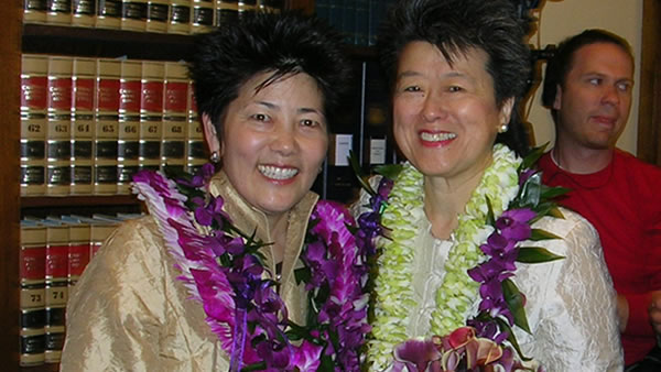 Famed author &amp; activist Helen Zia and her wife Lia Shigemura made history together as one of California&#39;s first gay couples to legally wed in San Francisco on June 17, 2008. <span class=meta>(Diane Tom&#47;Helen Zia)</span>