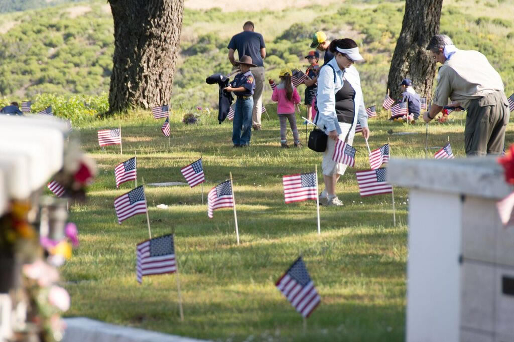 """<div class=""""meta image-caption""""><div class=""""origin-logo origin-image none""""><span>none</span></div><span class=""""caption-text"""">Local Boy Scouts place flags on veterans' graves at Skylawn Memorial Park in San Mateo on Saturday, May 28 2016.   (Photos courtesy of Skylawn Memorial Park in San Mateo)</span></div>"""