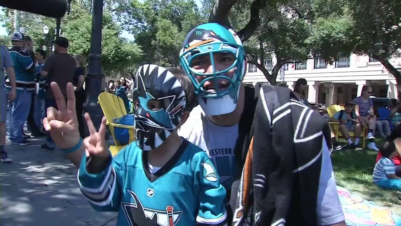 <div class='meta'><div class='origin-logo' data-origin='none'></div><span class='caption-text' data-credit='KGO-TV'>San Jose Sharks fans in San Jose, Calif., ahead of Game 1 on the Stanley Cup Final on Monday, May 30, 2016.</span></div>
