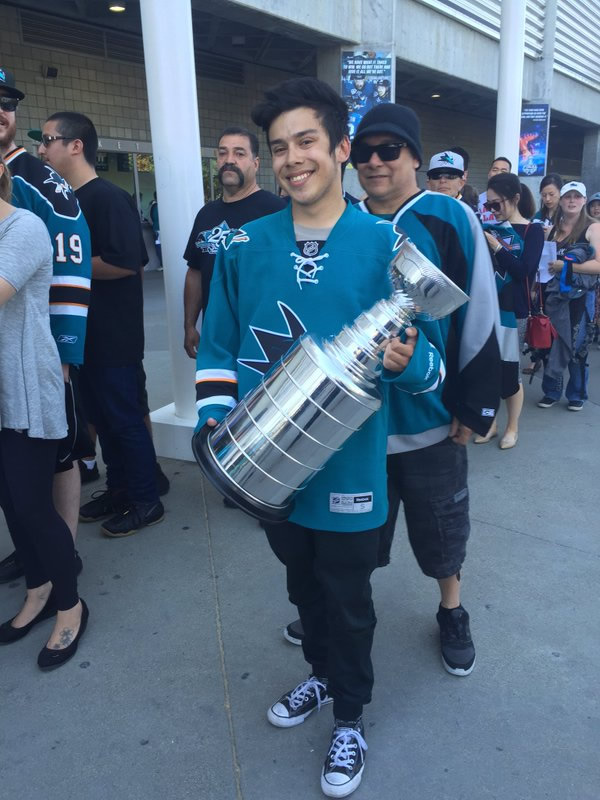 <div class='meta'><div class='origin-logo' data-origin='none'></div><span class='caption-text' data-credit='KGO-TV'>A hockey fan with a Stanley Cup replica, on his way to the viewing party at SAP Center in San Jose, Calif., on Monday, May 30, 2016.</span></div>