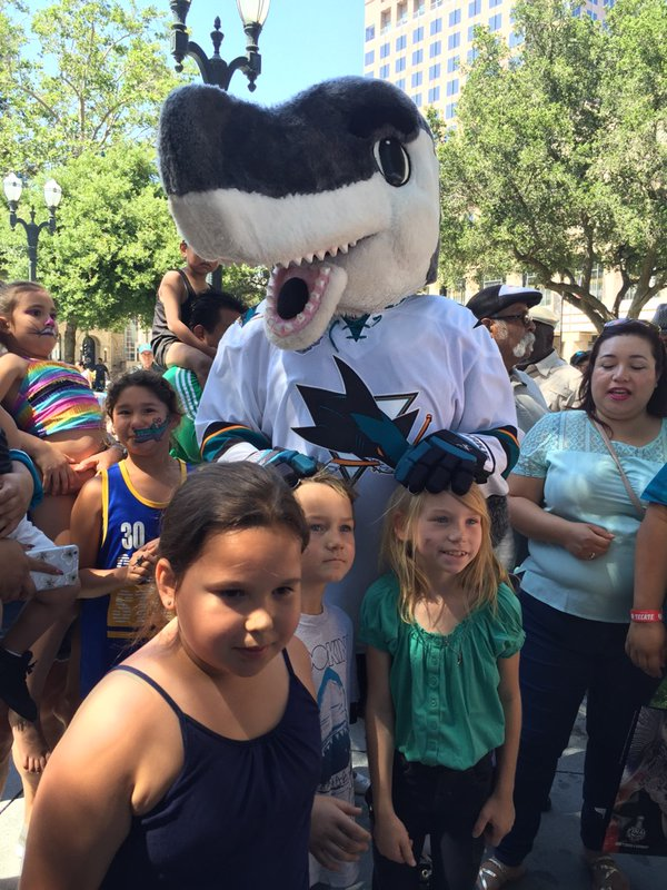 <div class='meta'><div class='origin-logo' data-origin='none'></div><span class='caption-text' data-credit='KGO-TV'>San Jose Sharks fans with mascot S.J. Sharkie in San Jose, Calif., ahead of Game 1 on the Stanley Cup Final on Monday, May 30, 2016.</span></div>
