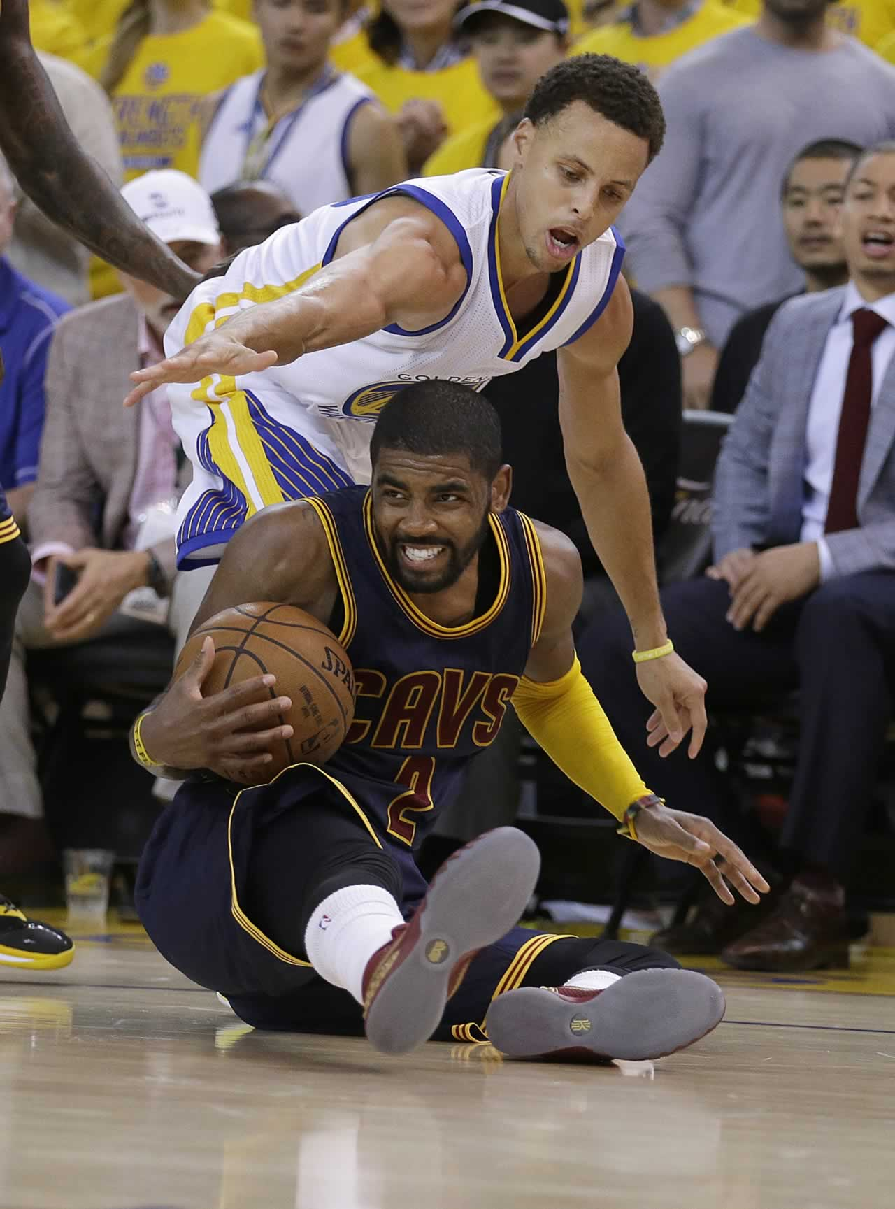 <div class='meta'><div class='origin-logo' data-origin='none'></div><span class='caption-text' data-credit='AP Photo/Ben Margot'>Cavaliers guard Kyrie Irving is guarded by Warriors guard Stephen Curry during Game 1 of basketball's NBA Finals in Oakland, Calif., Thursday, June 4, 2015.</span></div>