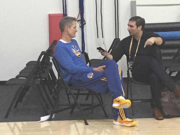 <div class='meta'><div class='origin-logo' data-origin='none'></div><span class='caption-text' data-credit='KGO-TV'>Warriors coach Steve Kerr is looking confident and relaxed ahead of Thursday's Game 1 of the NBA Playoff Finals against the Cavaliers, June 4, 2015.</span></div>