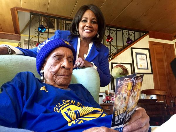 <div class='meta'><div class='origin-logo' data-origin='none'></div><span class='caption-text' data-credit='KGO-TV'>Sweetie shows off her tickets for Game 1 of the NBA Playoff Finals on Thursday, June 4, 2015. The 105-year-old is pumped up!</span></div>