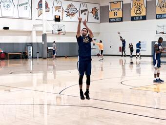 <div class='meta'><div class='origin-logo' data-origin='none'></div><span class='caption-text' data-credit='KGO-TV'>Warriors guard Steph Curry is practicing his threes ahead of Game 1 of the NBA Playoff Finals against the Cavaliers, Thursday, June 4, 2015.</span></div>