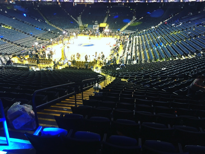 <div class='meta'><div class='origin-logo' data-origin='none'></div><span class='caption-text' data-credit='KGO-TV'>Oracle Arena is seen after game 2 of the NBA Finals in Oakland, Calif. on June 5, 2017.</span></div>