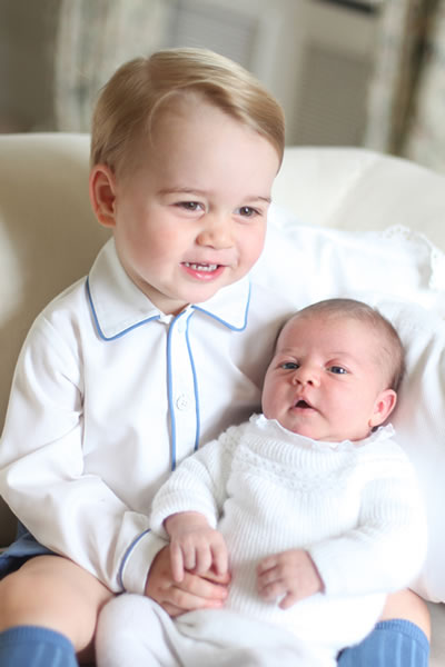 <div class='meta'><div class='origin-logo' data-origin='none'></div><span class='caption-text' data-credit='Duchess of Cambridge via AP'>This photo of Britain's Princess Charlotte, held by her brother Prince George, was released by Kensington Palace Saturday, June 6, 2015.</span></div>