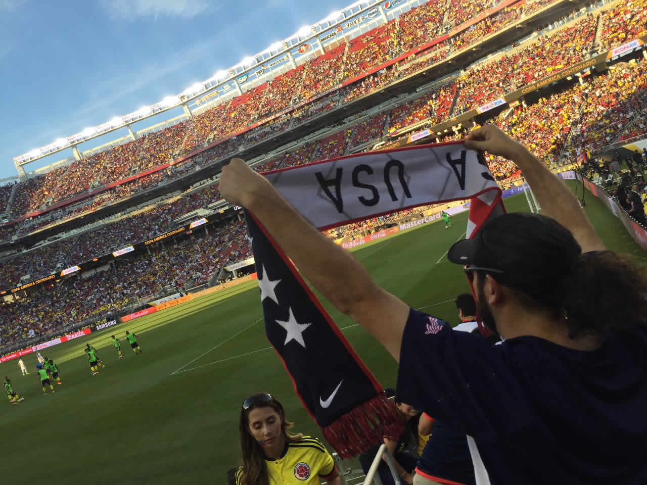 <div class='meta'><div class='origin-logo' data-origin='none'></div><span class='caption-text' data-credit='KGO-TV'>U.S.A. vs. Colombia at Levi's Stadium on Friday, June 3, 2016. We want to see your fan pride, so tag your photos #ABC7Now and we may feature them here or on TV.</span></div>