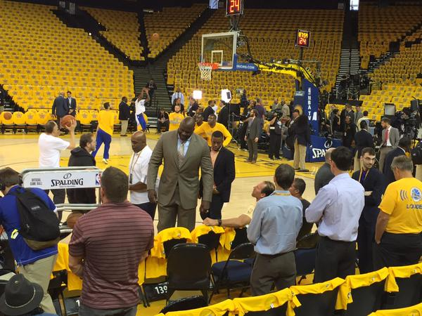 <div class='meta'><div class='origin-logo' data-origin='none'></div><span class='caption-text' data-credit='KGO-TV'>ABC7 News reporter Katie Marzullo's view was blocked by a very tall Shaq on Sunday, June 7, 2015 at Oracle Arena.</span></div>